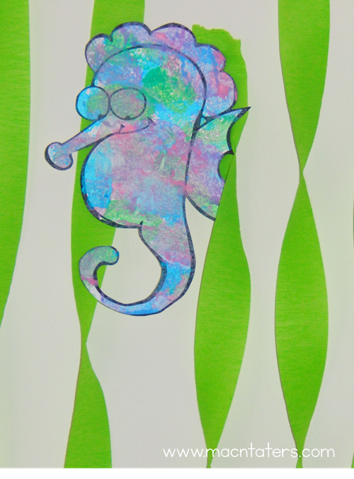 Sponge Painted Seashor to go along with Mr. Seahorse by Eric Carle