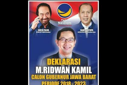 Diusung Nasdem Jadi Cagub, Ridwan Kamil Ngaku Banyak Dukungan