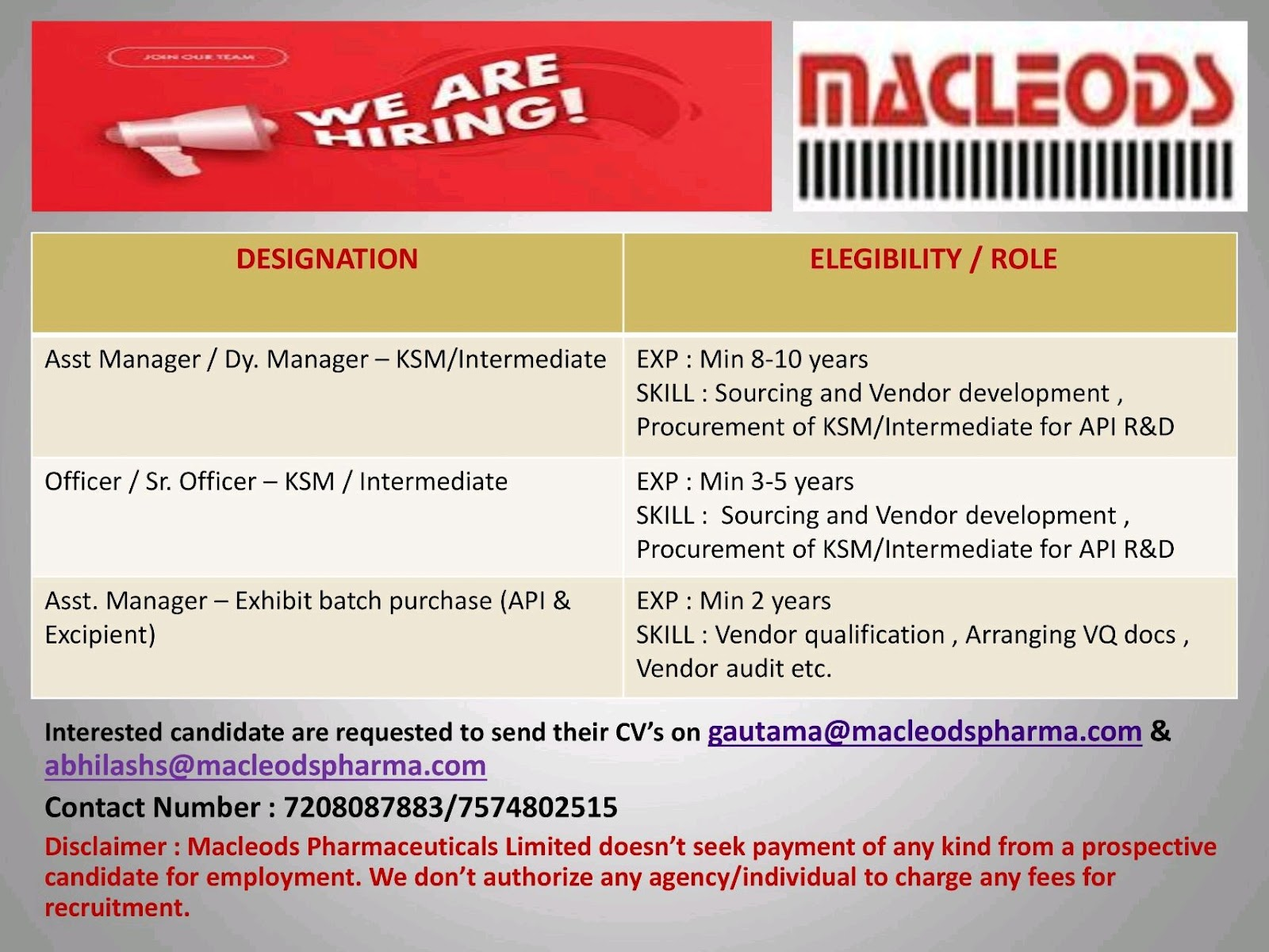 Opening For Purchase/ Supply Chain Management At Macleods