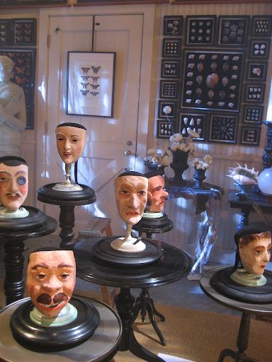 All these creepy mask were set up to twist and move during the taping.