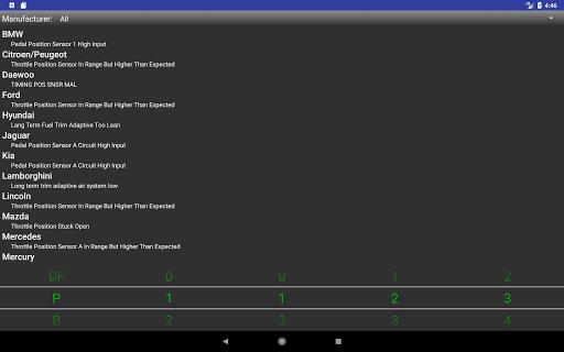 OBDII Trouble Codes Lite screenshot
