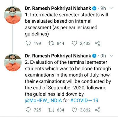 Tweet by HRD minister regarding UGC guidelines