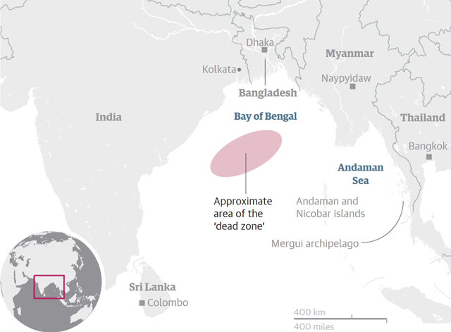 Approximate area of the growing dead zone in the Bay of Bengal. Graphic: The Guardian