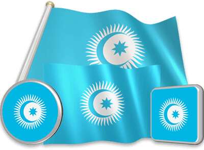 Turkic Council flag animated gif collection