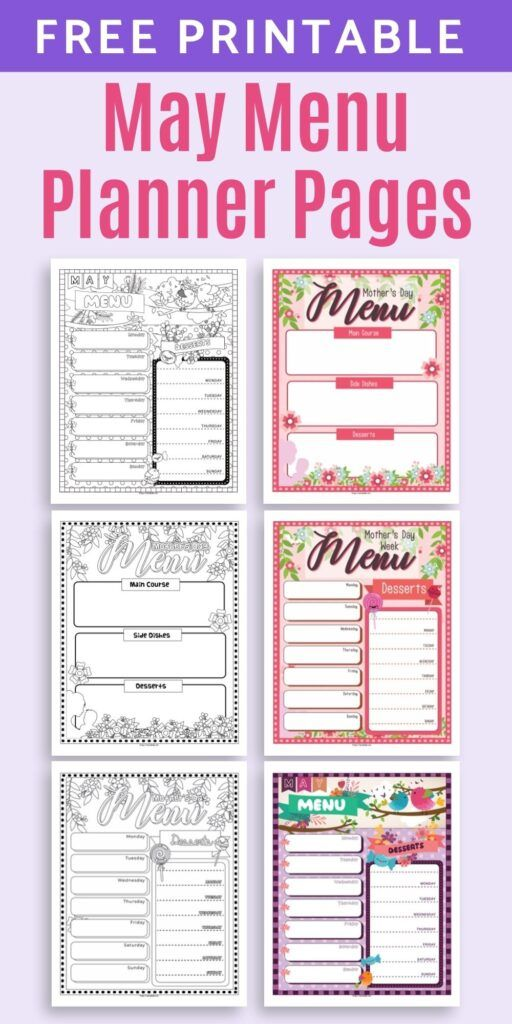 Mother's Day Menu Planners