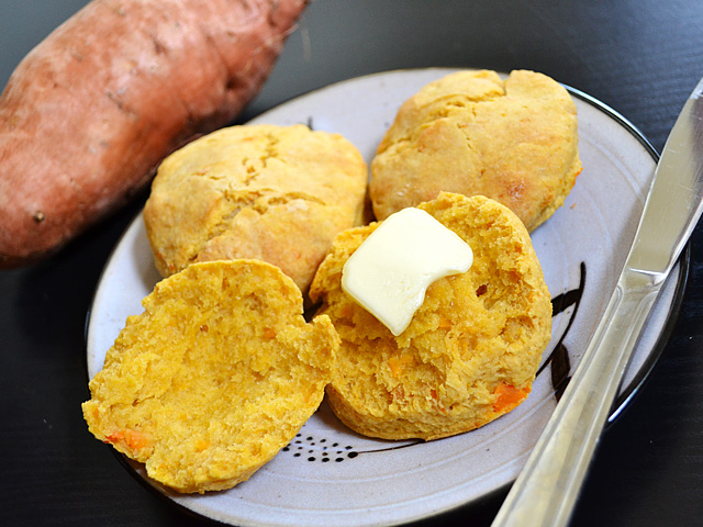Recipe reprinted from Chow.com – Sweet Potato Biscuits