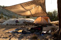 Camping at the cascades below Merced Lake