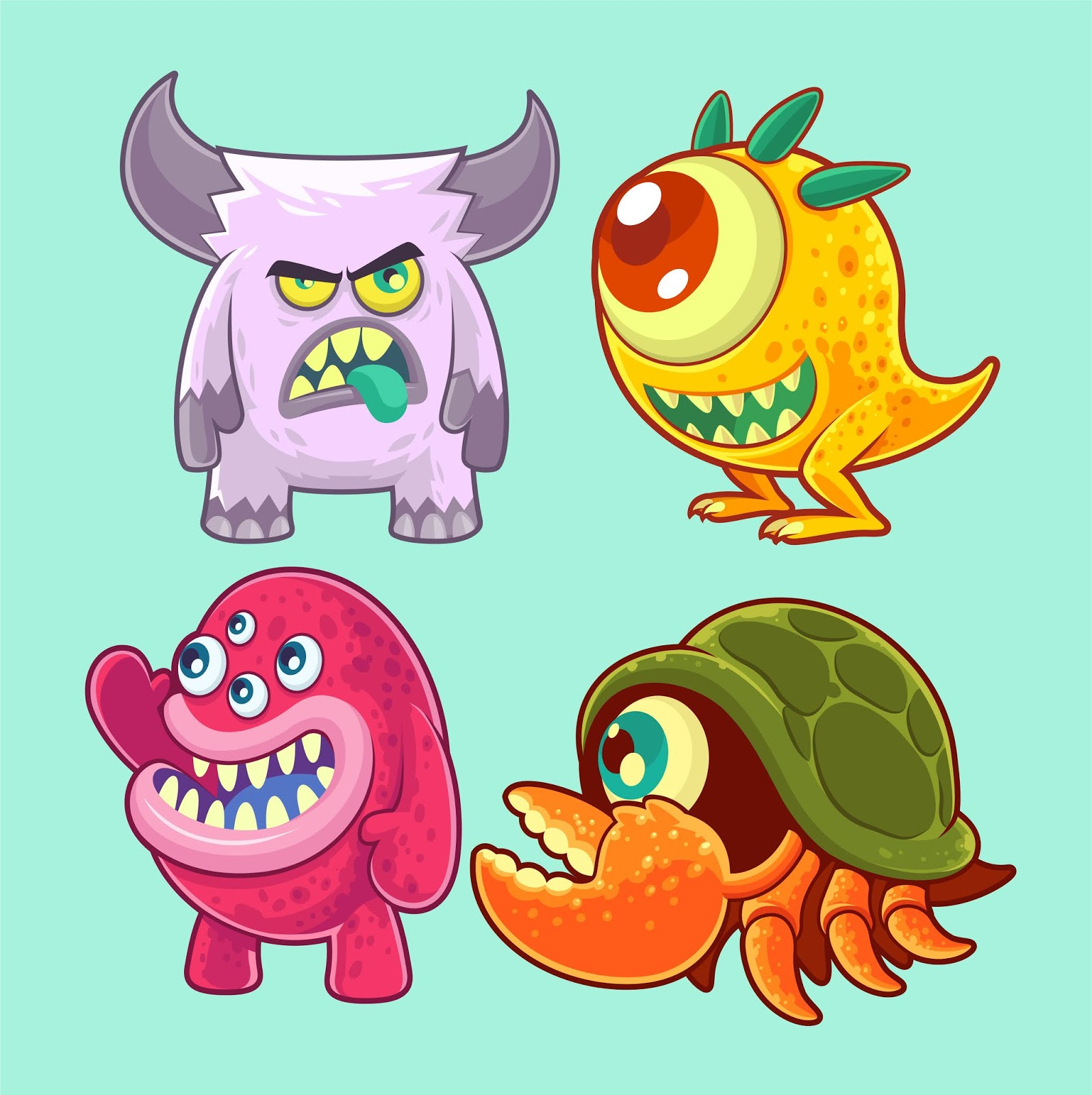 Cute Funny Monsters Set Free Download Vector CDR, AI, EPS and PNG Formats