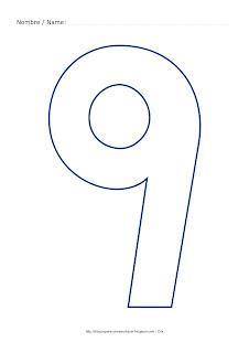 Lámina para colorear y pintar el número nueve en color azul