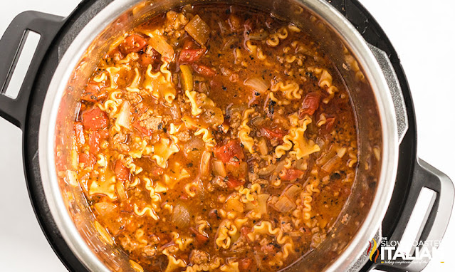 easy lasagna soup with noodles in pot