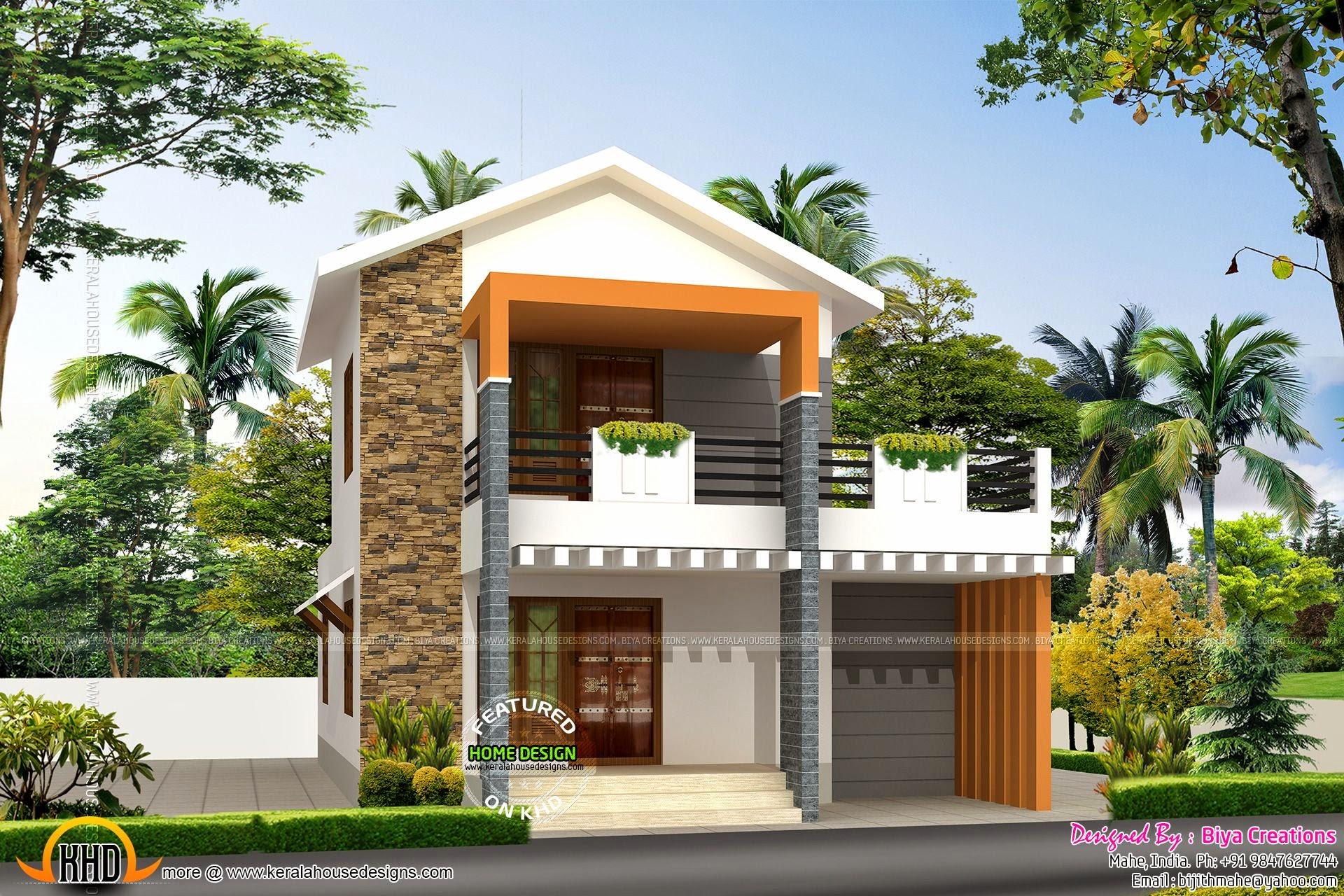 Small double storied house in 1200 sq feet kerala home for 2 bhk house designs in india