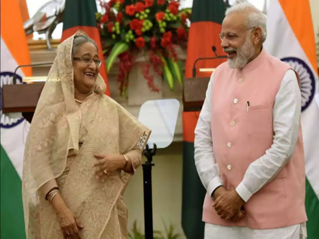 Narendra Modi With Bangladesh counterpart sheikh hasina