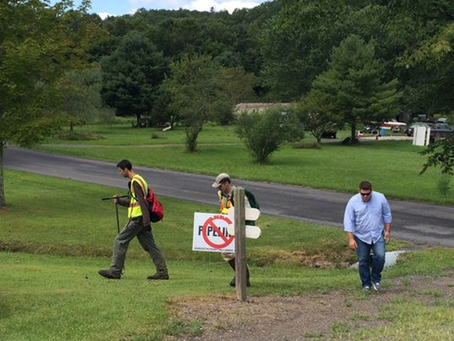 Representatives from Dominion Energy survey a property that the proposed Atlantic Coast Pipeline would run through in Deerfield, Virginia, on 18 August 2016. Photo: Gabe Cavallaro / The Staunton News Leader