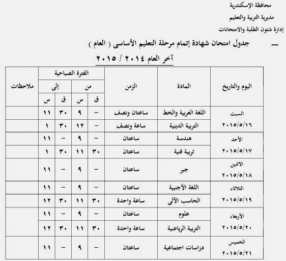 جدول امتحانات الترم الثاني للشهادة alex34343.jpg