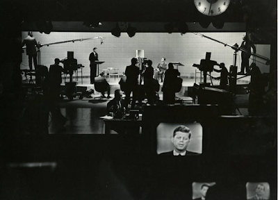 photo of John F. Kennedy in on-set monitor on stage at the first-ever televised Presidential debate in 1960 by Irving Haberman