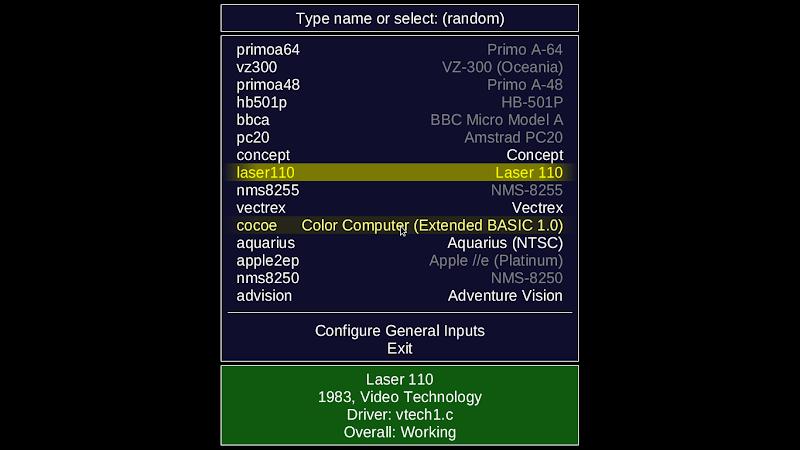 Daftar ROM yang berhasil  di deteksi oleh MESS