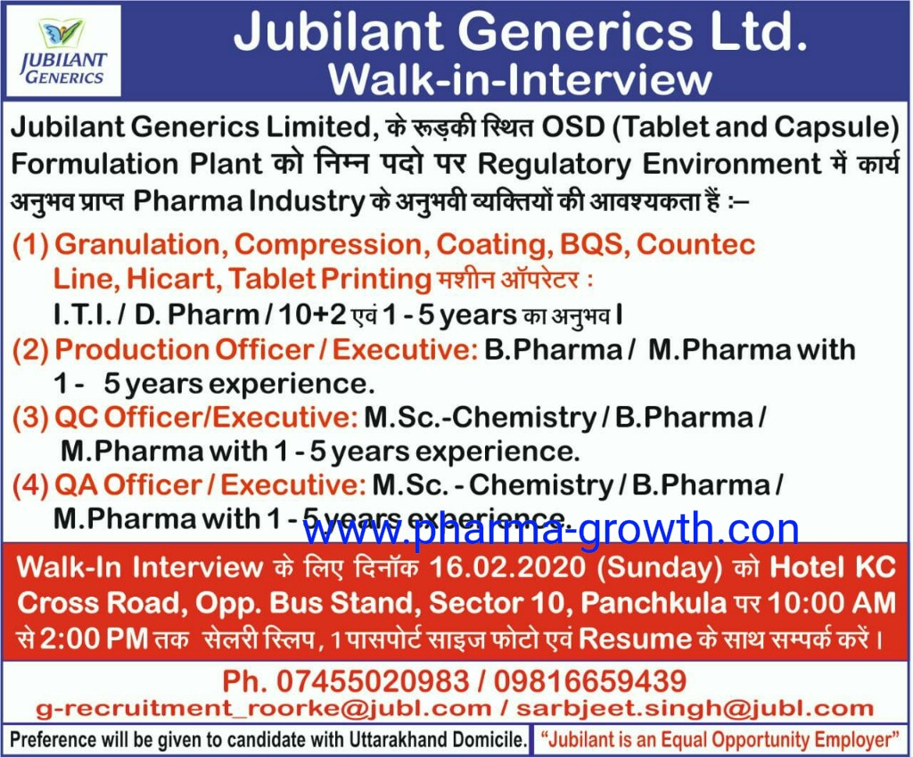 Jubilant Generic Ltd -  Walk in interview for Multiple Position on 16th Feb 2020