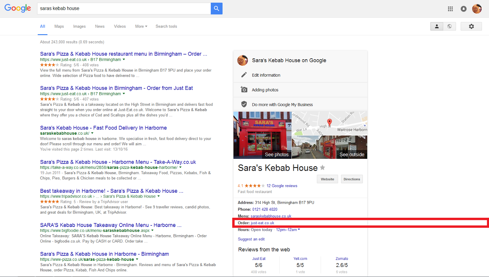 Remove Justeatcouk From Serp Google Search Tulong