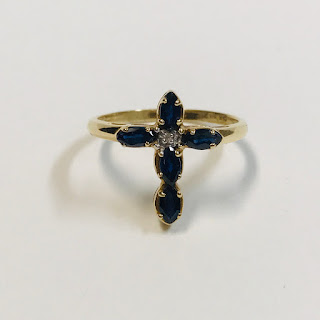 14K Gold, Blue Stone, and Clear Stone Cross Ring