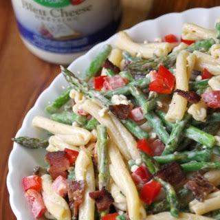 Creamy Asparagus Pasta Salad Recipe with Bacon and Bleu Cheese
