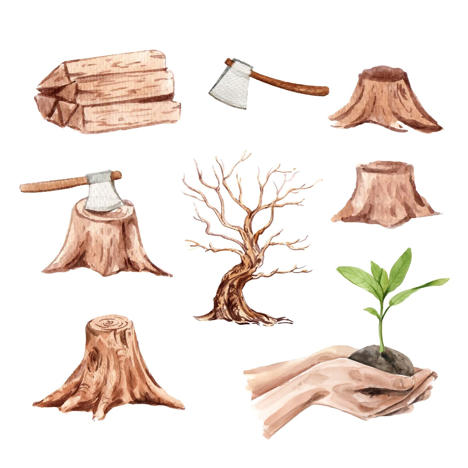 Set Watercolor Deforestation Hand Drawn Free Download Vector CDR, AI, EPS and PNG Formats