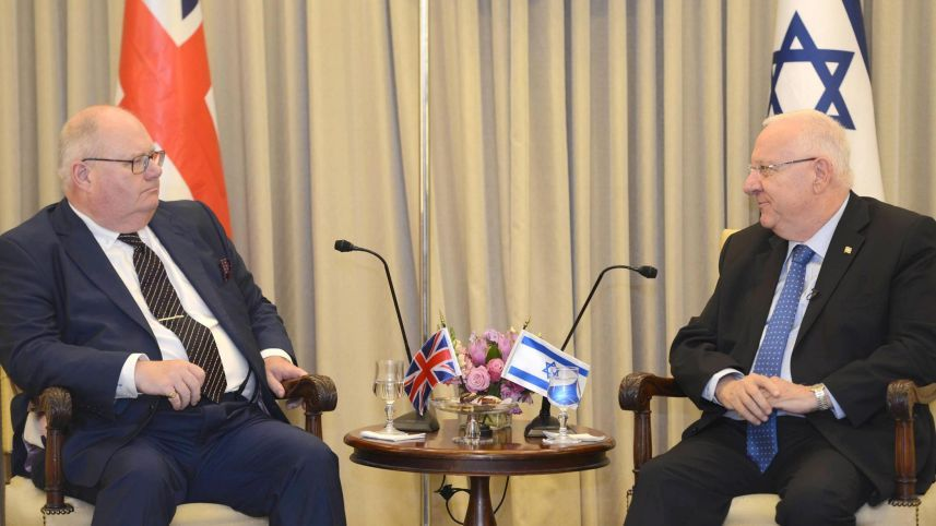 The Rt. Hon. MP Eric Pickles with President Rivlin at the President's Residence in Jerusalem, July 29, 2015.GPO