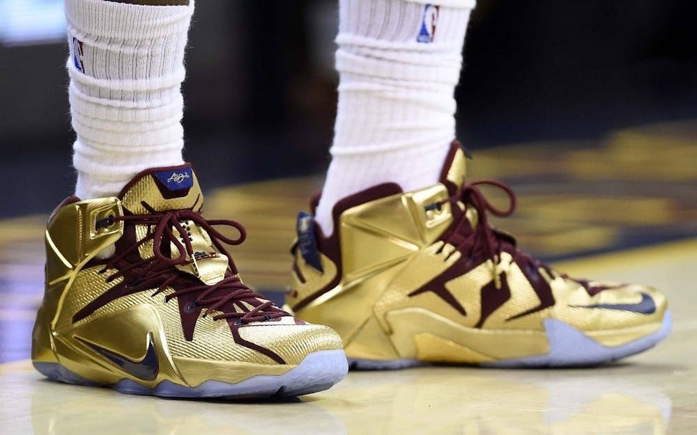 best website 297cf 128d1 ... LBJ Wears Shiny Nike LeBron 12 Cavs Gold Finals PE in Game 6 ...