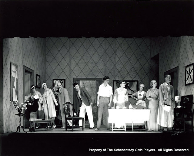 Joyce Evans Rector, Edna M. Ryder, Eliott Harrington, Nigel P. Altman, Harry P. Gough, Carolyn A. Wright, Amy Kermeth, Janet Hall Bailey and J.J. Walker in HAY FEVER - May 1933.  Property of The Schenectady Civic Players Theater Archive.