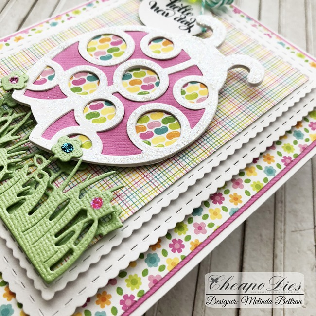 Cheapo Dies Cross Spring Ladybug Die Cut Project Card idea