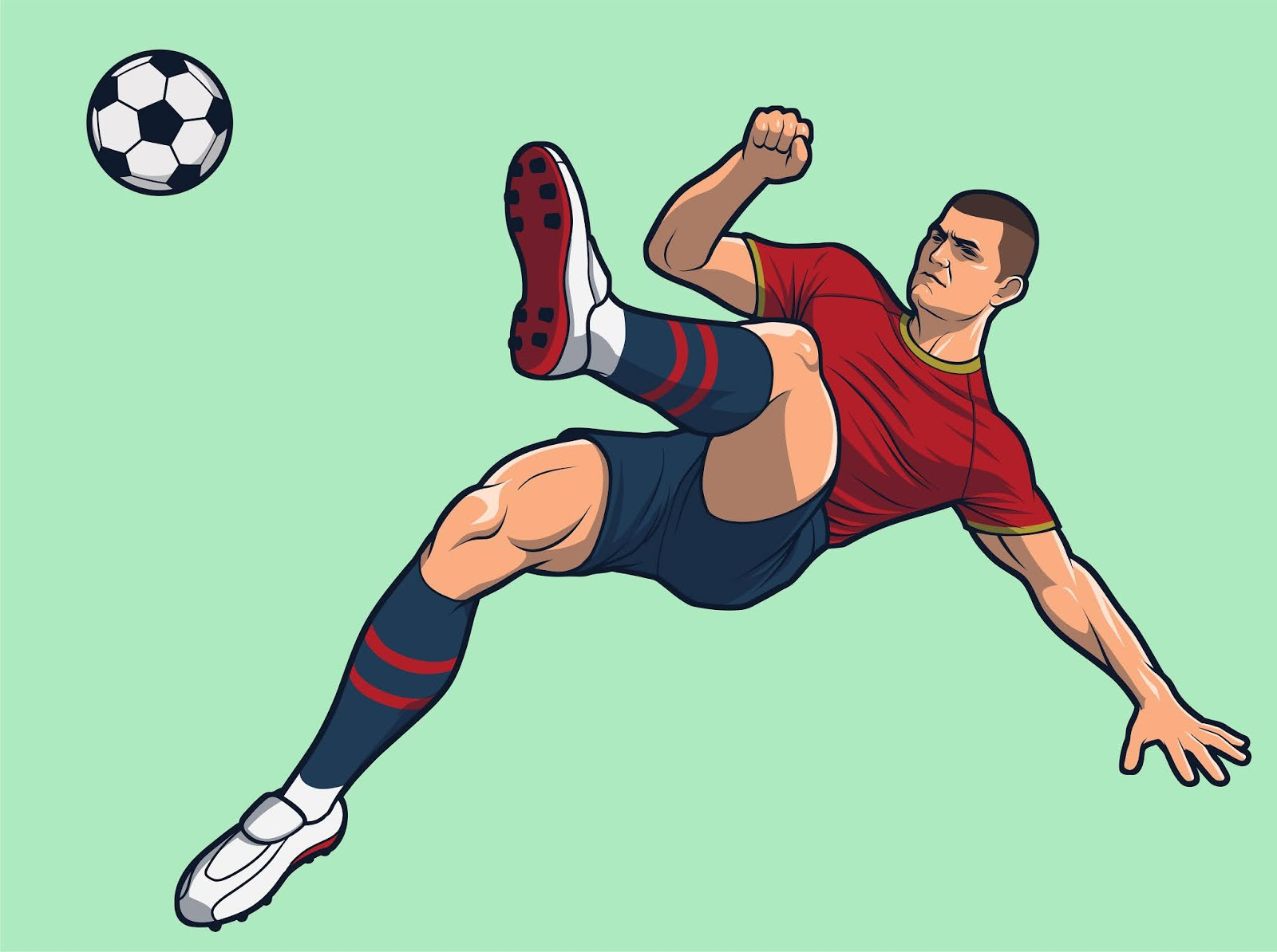 Soccer Player Somersault Overhead Kick Free Download Vector CDR, AI, EPS and PNG Formats