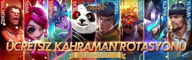 Mobile Legends Haftalık Kahraman Rotasyonu 30 Haziran