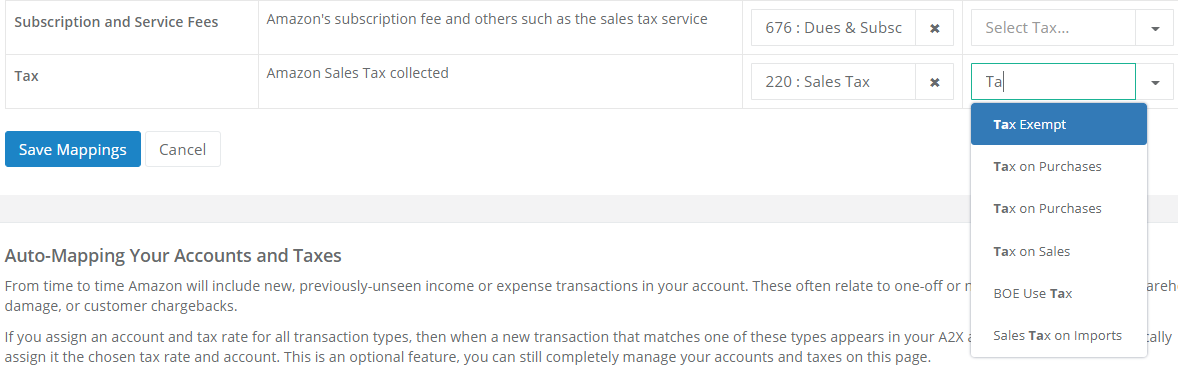 A2X tax rates
