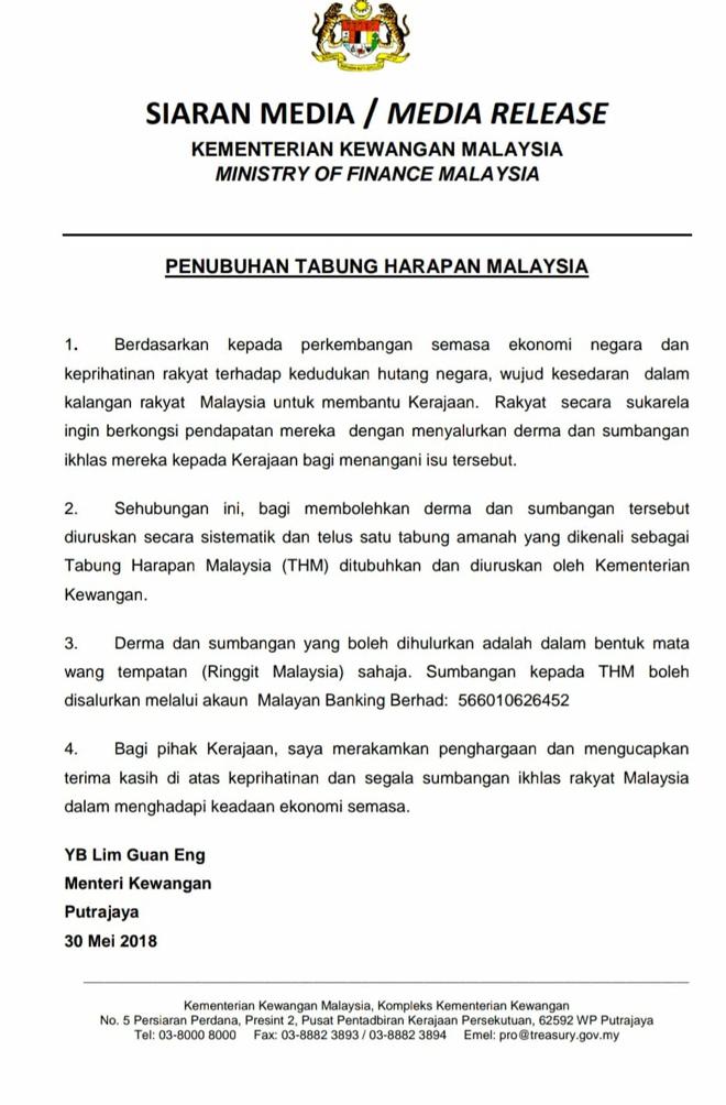 Tabung Harapan Malaysia - tiada paksaan untuk menderma atau tidak