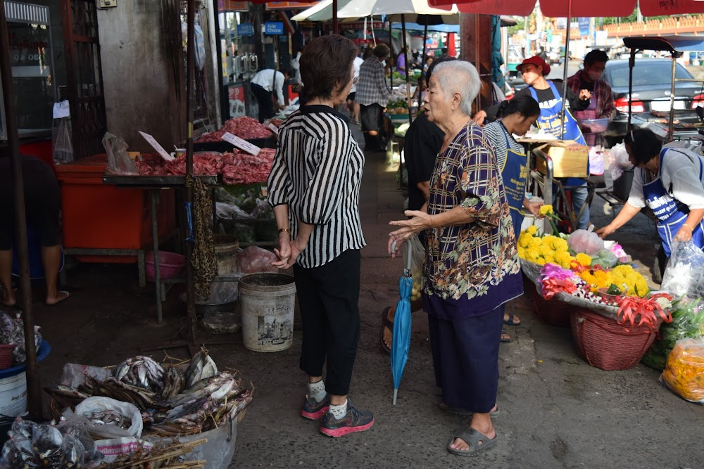 After a surprisingly comfortable night at the cheap hotel, we set off in the morning for the Korat bus station, several km away.  We walk through this street market, which is already busy.