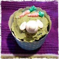 cupacake al cioccolato con frosting al tè matcha