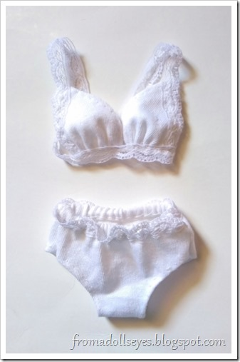 A cute lacey bra and underwear set for a ball jointed doll.