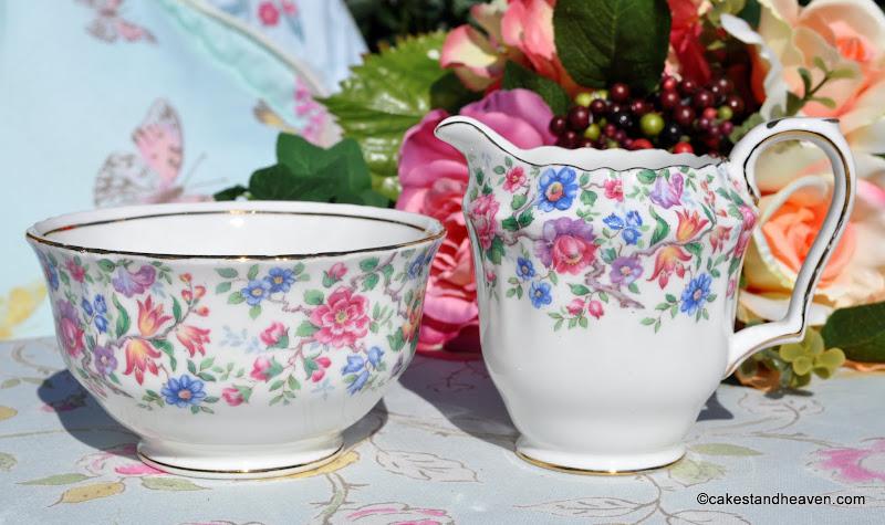 Crown Staffordshire Springtime Milk Jug and Sugar Bowl