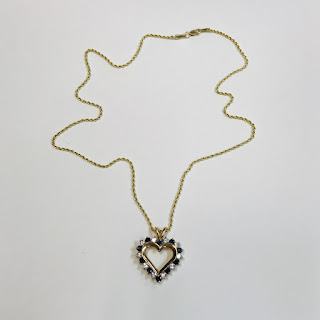 14K Gold Necklace with 10K and Stone Pendant