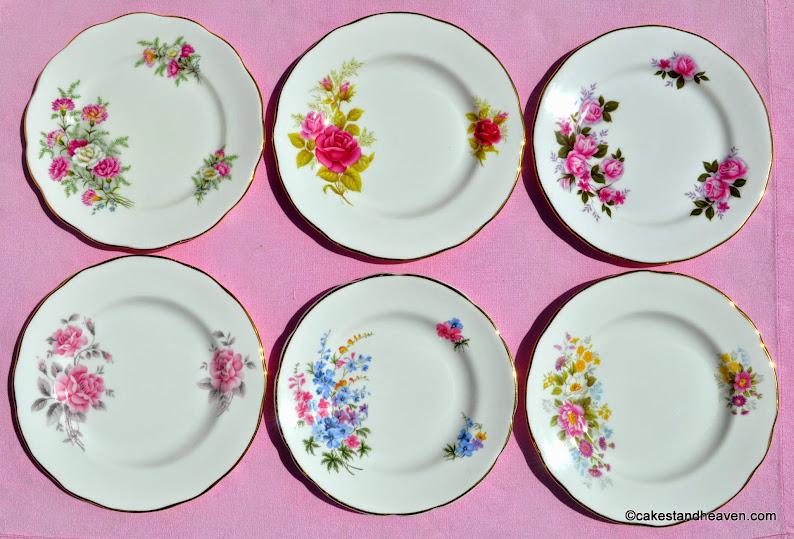 Pink eclectic floral vintage tea plates