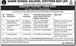 Sainik School Kalikiri Notification 2018 www.indgovtjobs.in