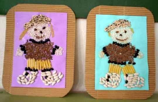 Cuadros hecho con pasta ideas para fiestas de niños