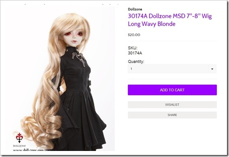 30174A Dollzone MSD Blond Wig