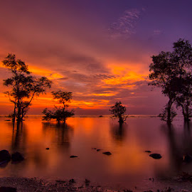 Mendayu by Chandra Irahadi - Landscapes Sunsets & Sunrises ( shore, nature, waterscape, sunsets, sunset, outdoor, shoreline, romantic, mood, nature photography, beach, seaside, seascape, romance, evening )