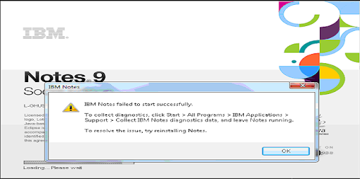 Notes Client error: IBM Notes failed to start successfully