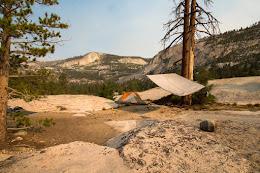 Camping at the Merced Lake cascades