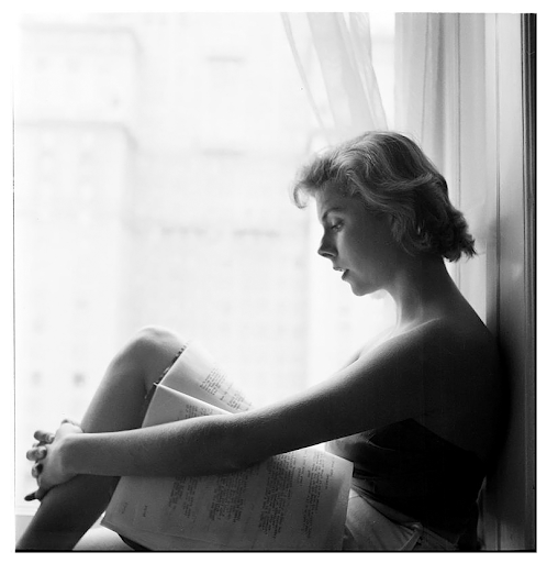 Betsy Von Furstenberg. Reading a script in a windowsill. 1950.