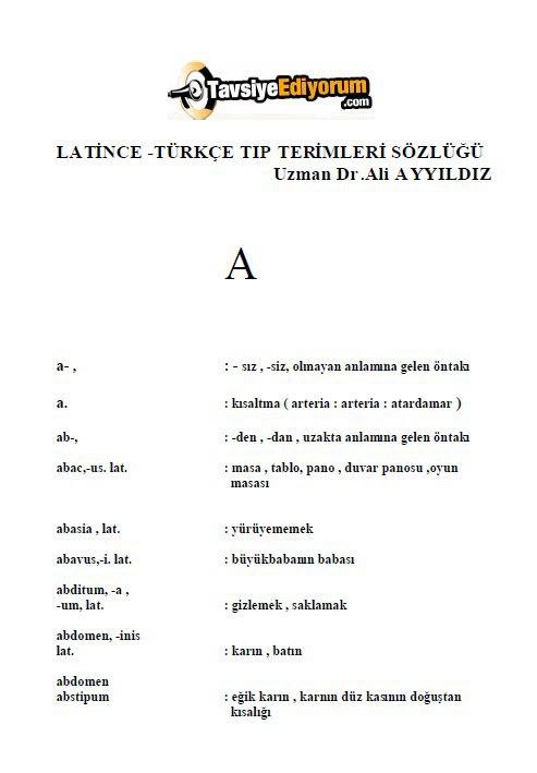 Latince-Türkçe Tıp Terimleri Sözlüğü