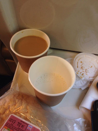 a latte served in two cups on Virgin Trains