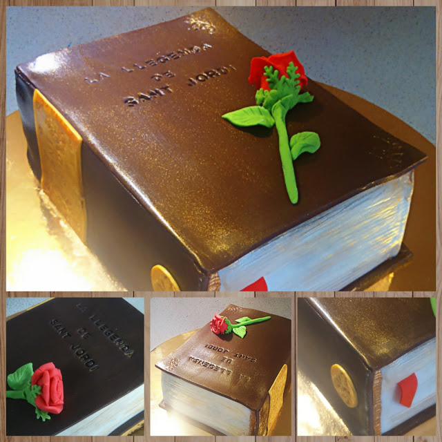 sant jordi, tarta libro, libro y rosa