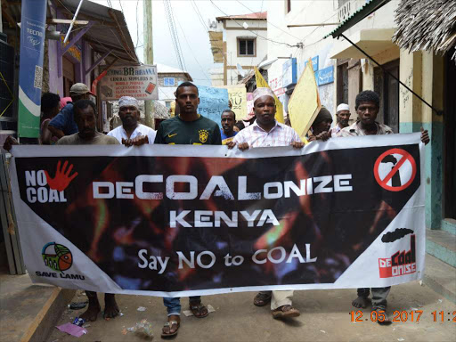 Save Lamu secretary General Walid Ahmed leads other activists and residents in anti-coal demos in lamu town.